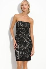 Sue Wong Strapless Lace Dress - Lyst