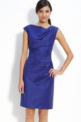 Suzi Chin For Maggy Boutique Asymmetrical Pleat Woven Sheath Dress (petite) - Lyst