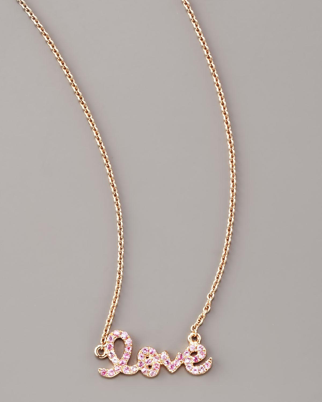 Lyst Sydney Evan Pink Sapphire Love Necklace In Pink