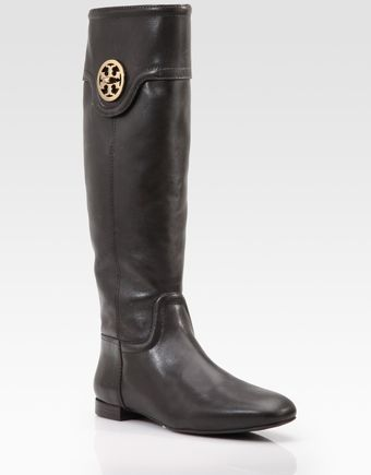 Tory Burch Selma Flat Leather Boots - Lyst