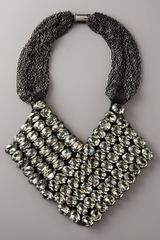 Vera Wang Rhinestone Chevron Necklace in Gray - Lyst