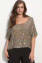 Vince Camuto Sequined Silk Blouse (plus) - Lyst