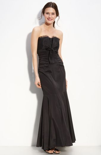 Xscape Strapless Taffeta Mermaid Gown with Bow Detail - Lyst