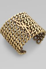 Yves Saint Laurent Signature Structured Chain Cuff Bracelet