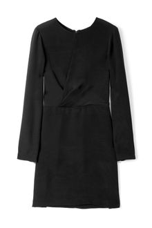 3.1 Phillip Lim Black Silk Wrap Over Long Sleeved Dress - Lyst