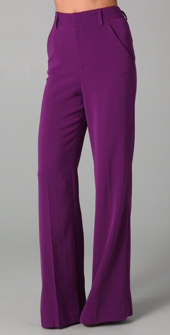 Alice   olivia High Waist Wide Leg Pants in Purple | Lyst