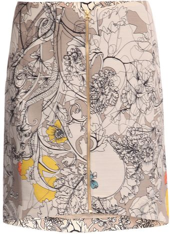 Cacharel Wool & Silk Poppy-print Skirt - Lyst