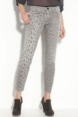 Current/Elliott The Stiletto Leopard Print Stretch Jeans (grey Leopard Wash) - Lyst