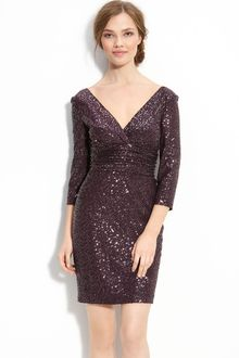 Kay Unger Sequin Embellished Satin Dress - Lyst