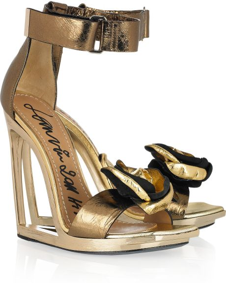 lanvin frame wedge metallic leather sandals in gold lyst