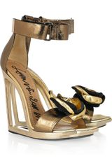 Lanvin Frame-wedge Metallic-leather Sandals - Lyst