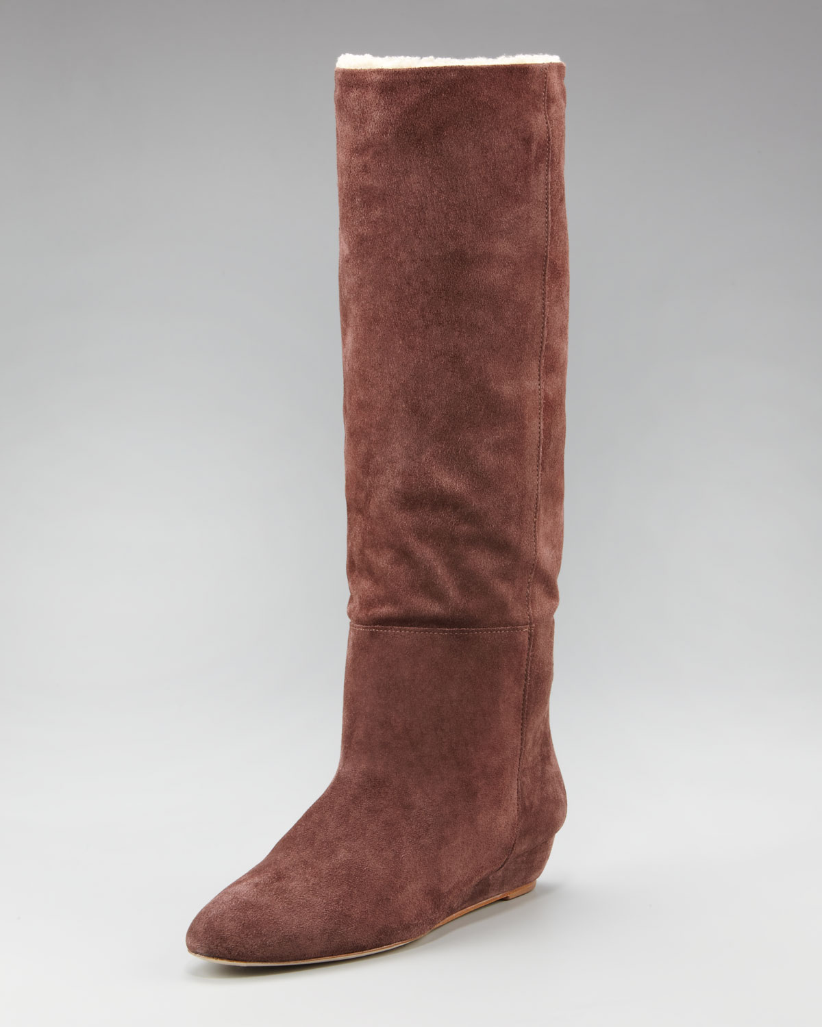 loeffler randall faux shearling suede boot in brown