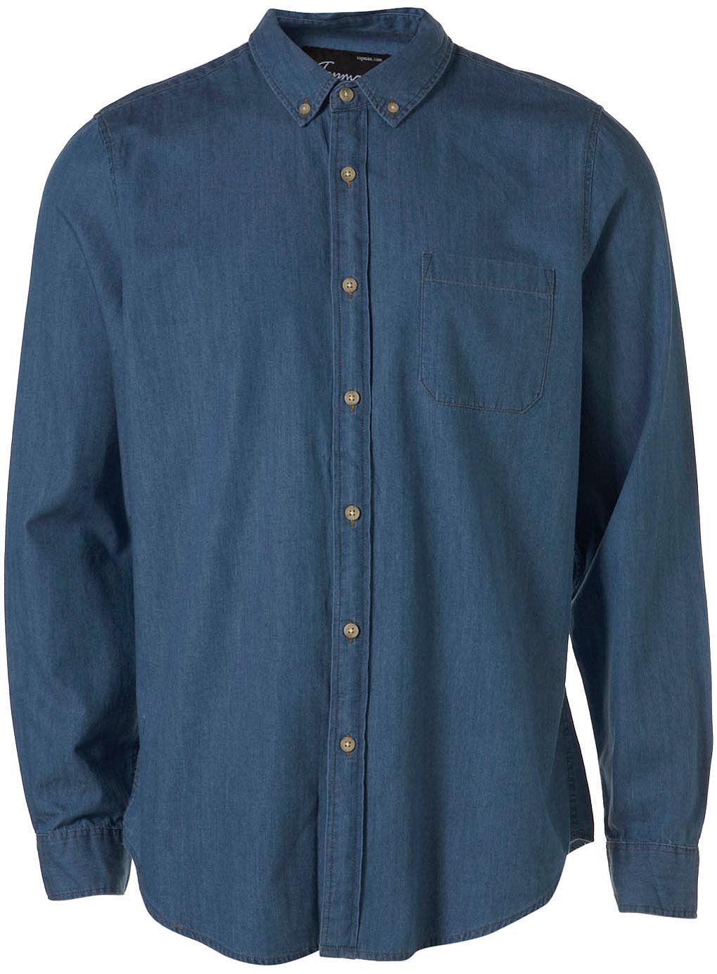 Long Denim Button Down Collar Shirt In Blue For Men Denim
