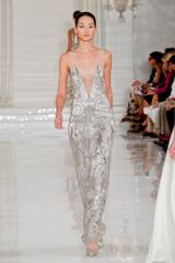 Ralph Lauren Spring 2012 Embellished Long Evening Dress in Silver - Lyst