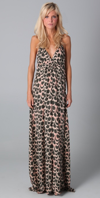 T-bags Print Maxi Dress in Brown  Lyst