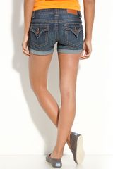 Vigoss Ny Flap Pocket Denim Shorts (dark Wash) (juniors) - Lyst