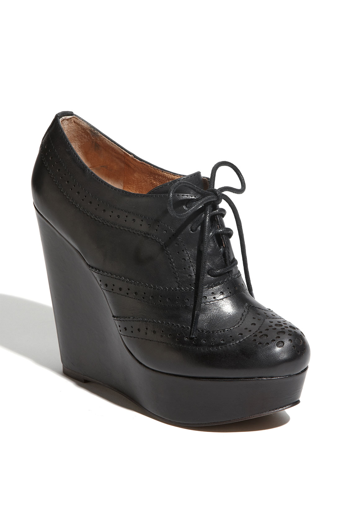 aldo horvath oxford wedge in black black leather lyst