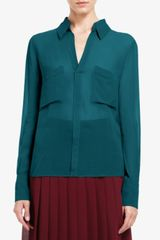BCBGMAXAZRIA Emma Button-down Silk Chiffon Blouse - Lyst