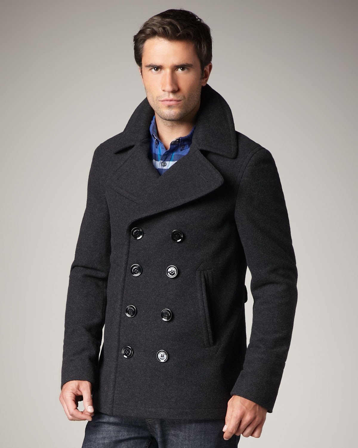 Burberry brit Short Wool-blend Pea Coat in Gray for Men | Lyst