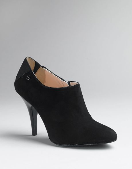 Calvin Klein Kid Suede Shooties Ankle Boots In Black