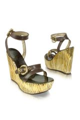 Casadei Leather and Gold Platform Wedge Shoes - Lyst