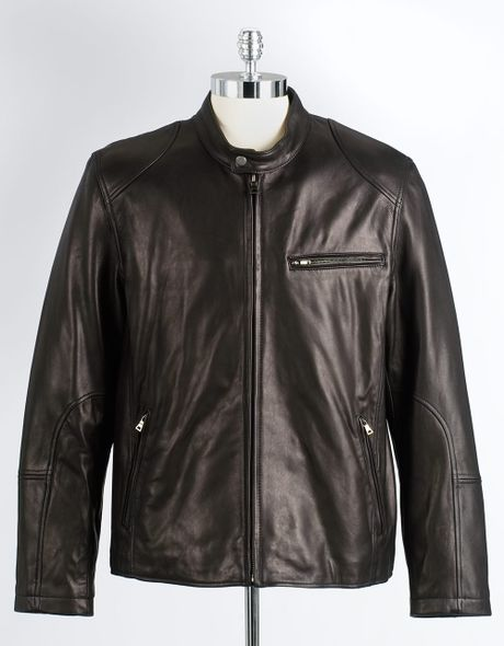 e8d4cf552a Cole Haan Pebbled Leather Moto Jacket in Black for Men | Lyst