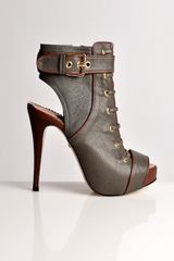 Eudon Choi Grey Lace Up Military Shoe Boot By - Lyst