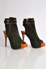 Eudon Choi Khaki Amp Orange Military Shoe Boots By in Green (khaki) - Lyst