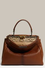 Fendi Peekaboo - Small Goatskin Leather Satchel - Lyst