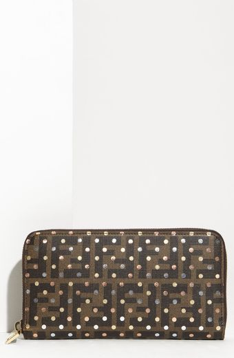 Fendi Polka Dot Zip Around Wallet - Lyst
