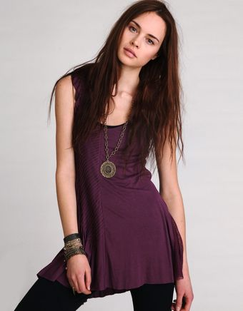 Free People Purple Flared Knit Tunic - Lyst