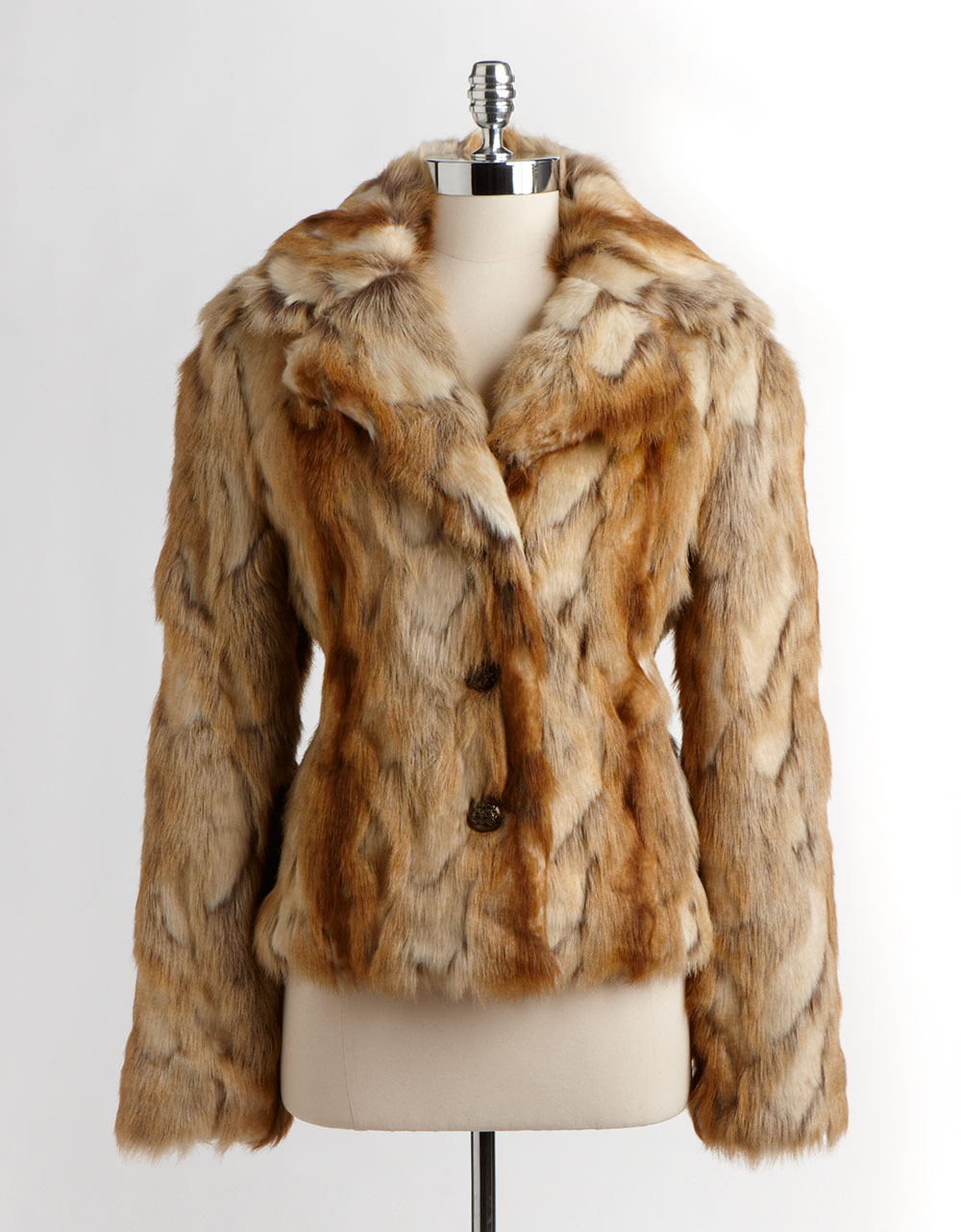 Lyst Guess Faux Fur Jacket In Brown