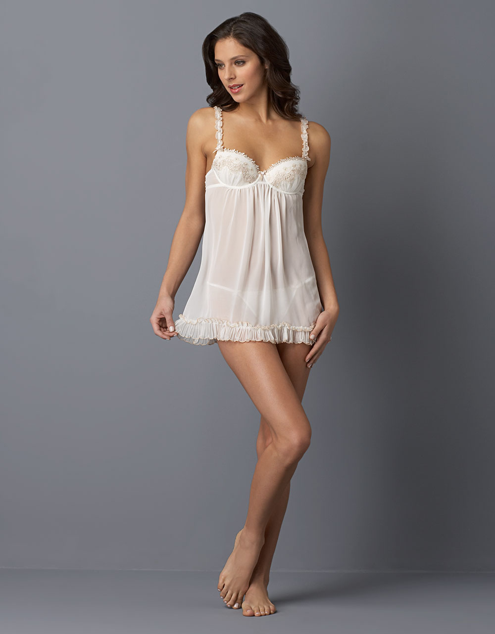 In Bloom By Jonquil Baby Doll Nightie in White (ivory ...