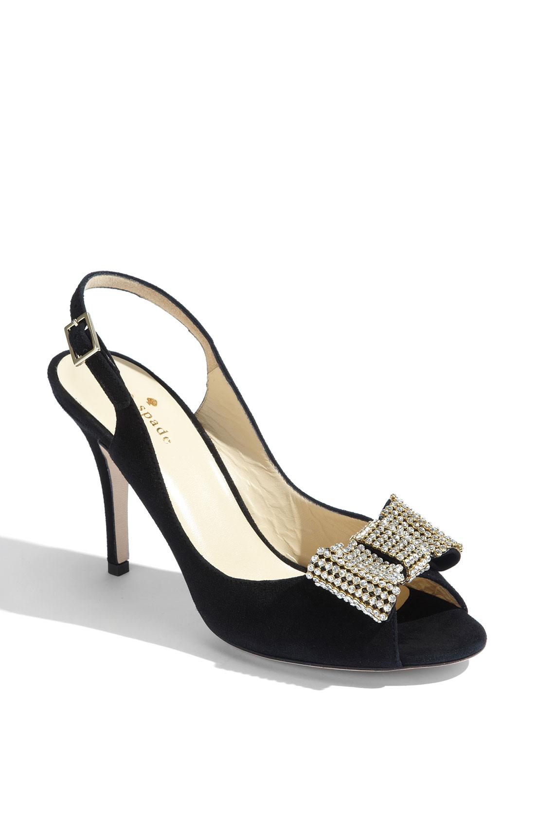 Kate Spade Crown Black Suede Slingback Embellished Pump