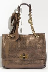 Lanvin Happy Lizard Embossed Metallic Shoulder Bag - Lyst