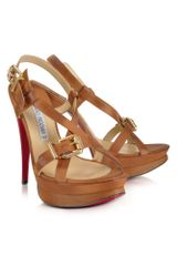Luciano Padovan Brown Leather Platform Sandal - Lyst
