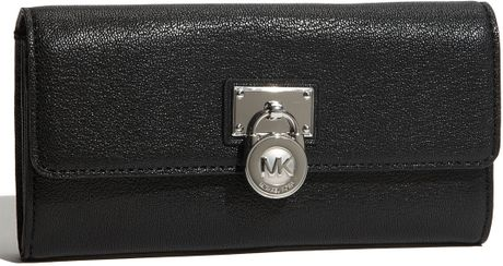 Michael By Michael Kors Hamilton Large Flap Wallet in Black - Lyst