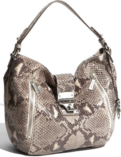 Michael By Michael Kors Jenna Python Embossed Tote in Animal (dark sand) - Lyst