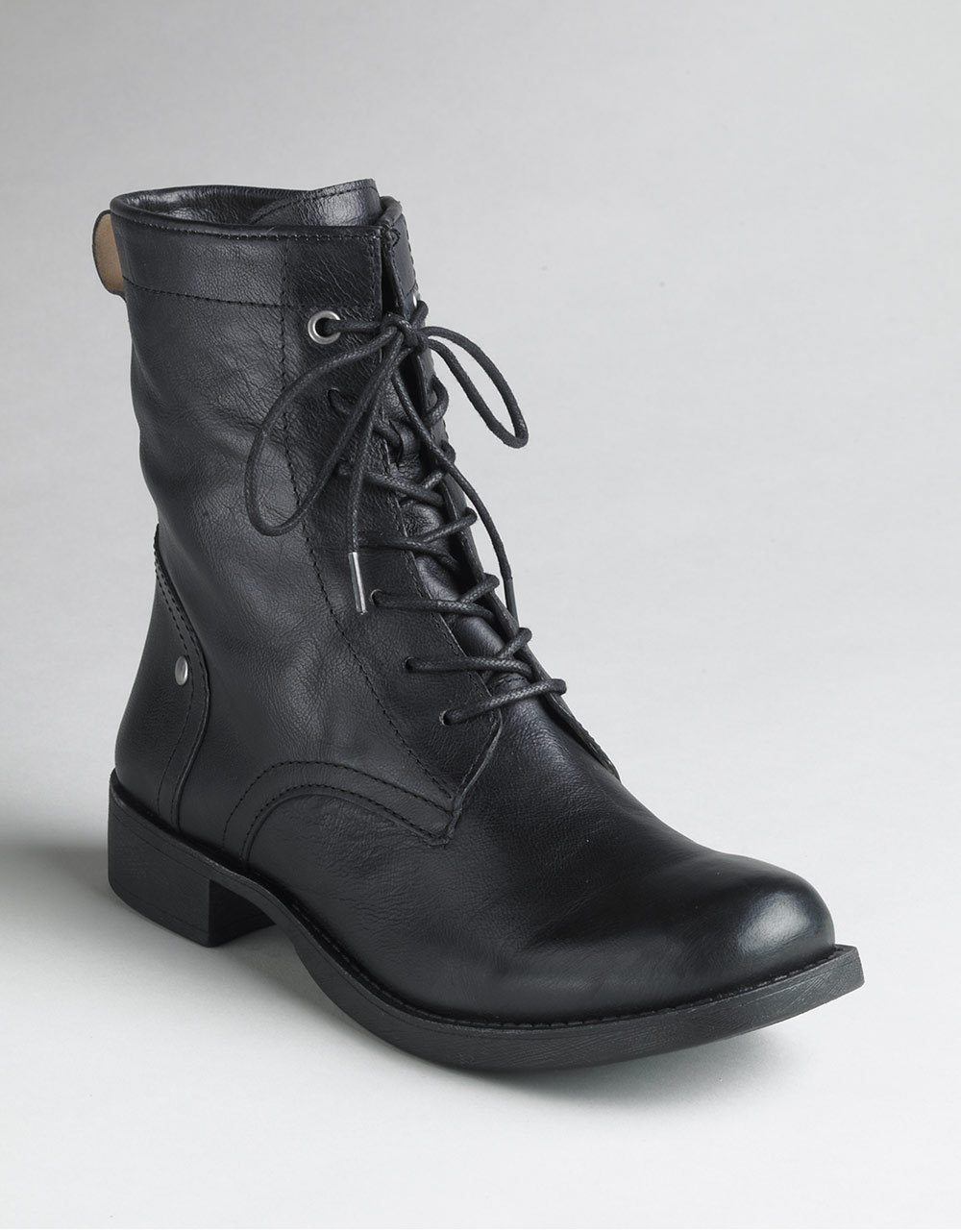 Nine West Takotae Lace Up Boots In Black Black Leather