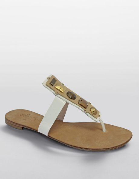Plenty By Tracy Reese Cai Embellished Leather Sandals in Gold (white leather)