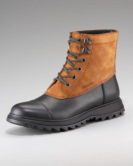 prada duck boot in brown for black lyst