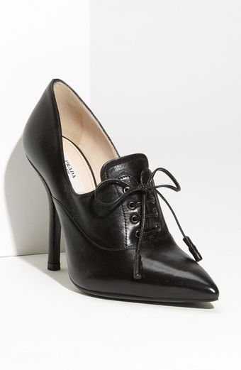 Prada Leather Bootie - Lyst