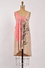 Simeon Farrar Nude Jersey Vest Dress With Pink Birds By - Lyst