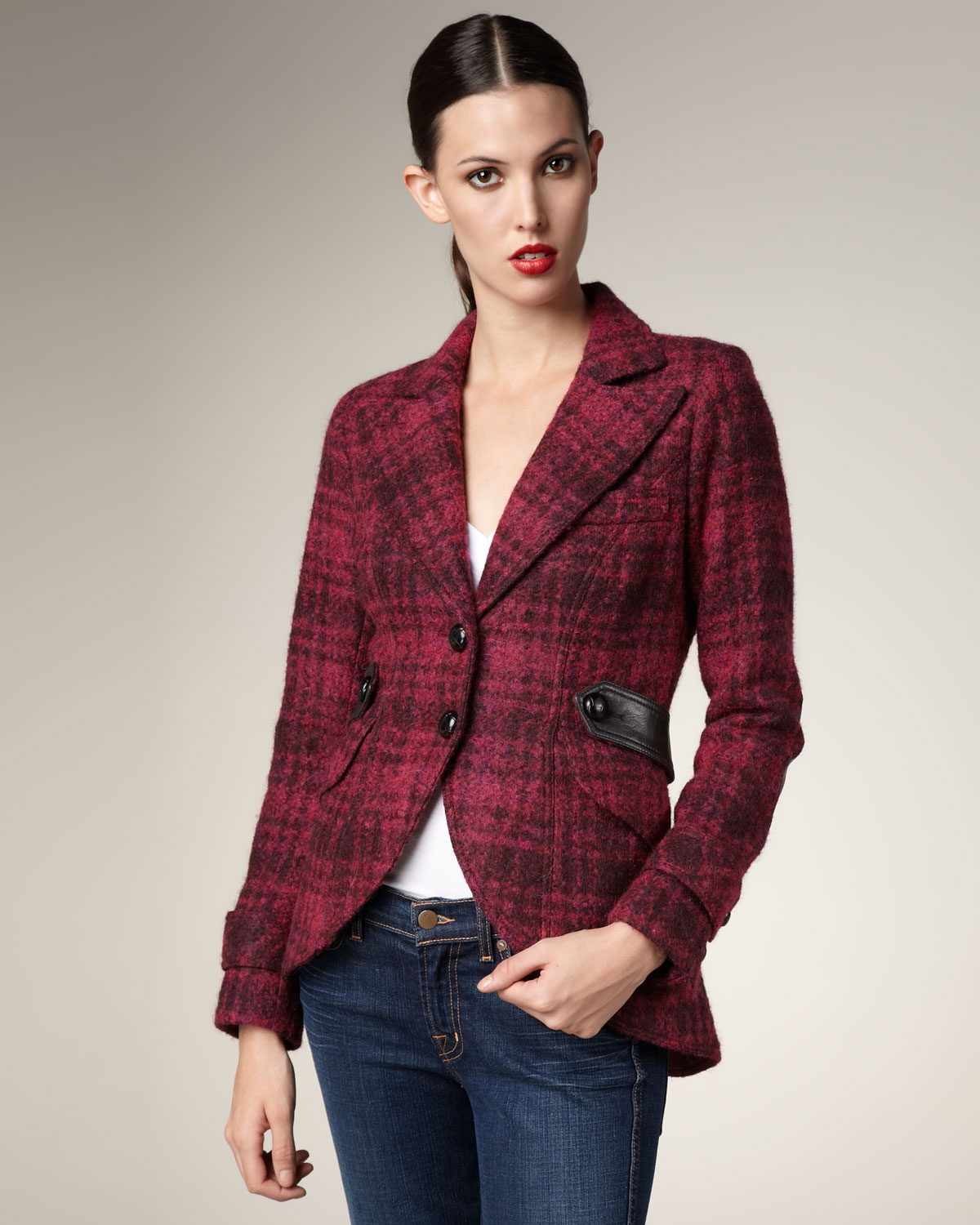 Smythe Plaid Leather Patch Jacket In Red Magenta Lyst