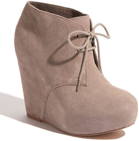 Steve Madden Annnie Wedge Bootie In Gray Taupe Suede Lyst
