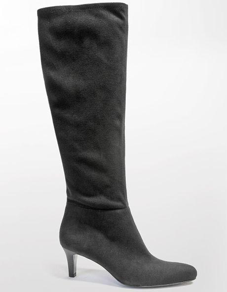 tahari payton suede stiletto boots in black black suede