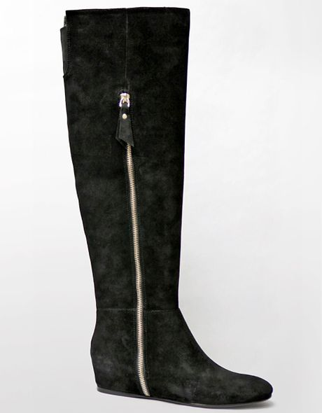 tahari shaw suede boots in black black suede lyst