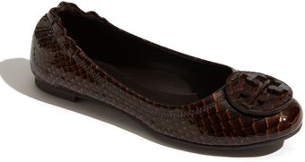 Tory Burch Reva - Monarch Snake Embossed Leather Flat - Lyst