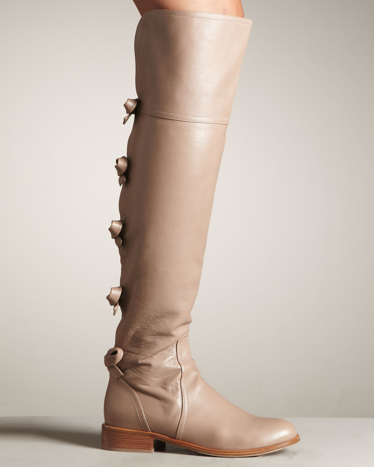 Valentino Bow-back Over-the-knee Riding Boot in Natural | Lyst