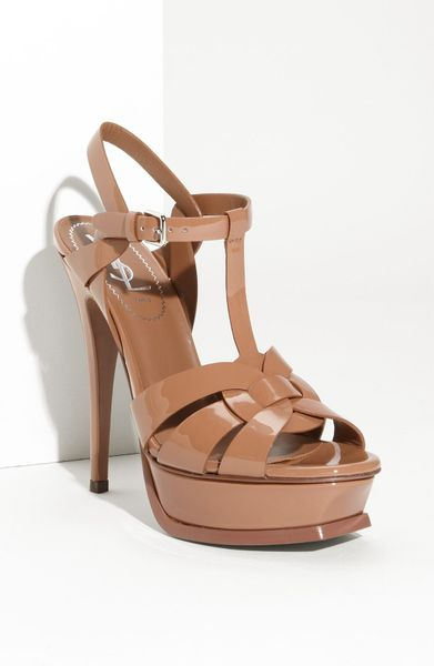 Yves Saint Laurent Tribute Sandal in Beige (camel patent) - Lyst